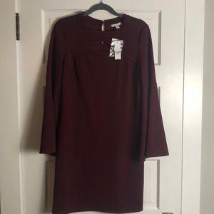 Maroon, bell sleeve dress